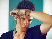 Sexy man leather bracelet — Stock Photo