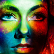 Stock Photo: Womcolor face art