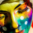 Woman color  face art - Stockfoto