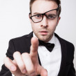 Success touch men in glasses - Stockfoto
