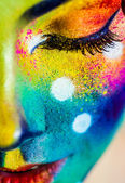 Woman color face art — Stock fotografie