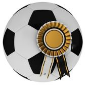 Soccer ball with award — Stock Photo