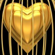 Gold heart in golden cage — Stock Photo
