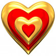 Gold and red heart — Stock Photo