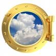 Stock Photo: Illustration of gold ship porthole