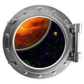Porthole with a view of space — Stock Photo
