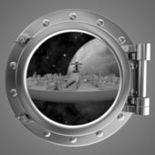 Porthole overlooking the spacecraft — Stock Photo