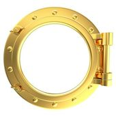 Illustration of a gold ship porthole — Stock Photo