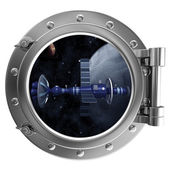 Porthole with a view of the satellite — Stock Photo