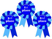Ribbon awards for 1 2 3 places — Stock Photo