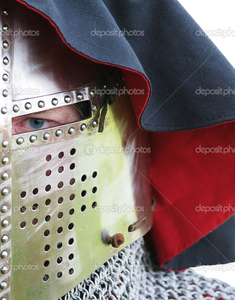 Knights eye looking from visor slit in great helm — Stock Photo #12277368