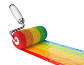 Multicolored paint roller. 3D Icon isolated on white — Stock Photo