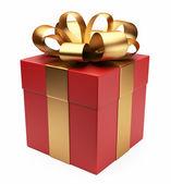礼品 3d。红色框,弓和功能区。在白色背景上孤立 — 图库照片