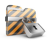 Folder with lock. Data security. 3D Icon isolated on white — Stock Photo