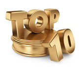Golden top 10 on podium. 3D icon isolated on white background — Stock Photo