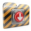 Download folder with button. 3D icon isolated on white — Stock Photo