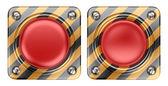 Rote schaltfläche, leer-alert. 3d symbol isoliert auf weißem hintergrund — Stockfoto