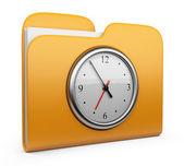 Dossier avec horloge. concept de bureau. 3d icône isolé — Photo