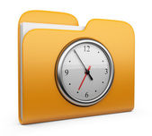 Folder with clock. Office concept. 3D Icon isolated — Stock Photo