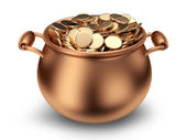 Pot of golden coins. Traditional holiday. 3D Icon isolated — Stock Photo