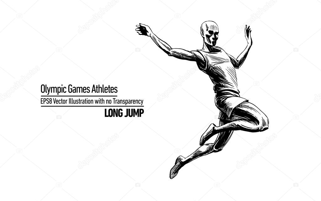 Hand-drawn, Sketchy Comic Book Style Vector Illustration Olympic Games Athletes | Long Jump | EPS8 No Transparency — Stok Vektör #11589248