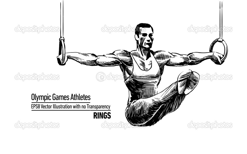 Hand-drawn, Sketchy Comic Book Style Vector Illustration Olympic Games Athletes | Rings | EPS8 No Transparency — Stock Vector #11589254
