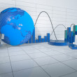 3d Abstract Room with Economy Releated Objects — Stock Photo