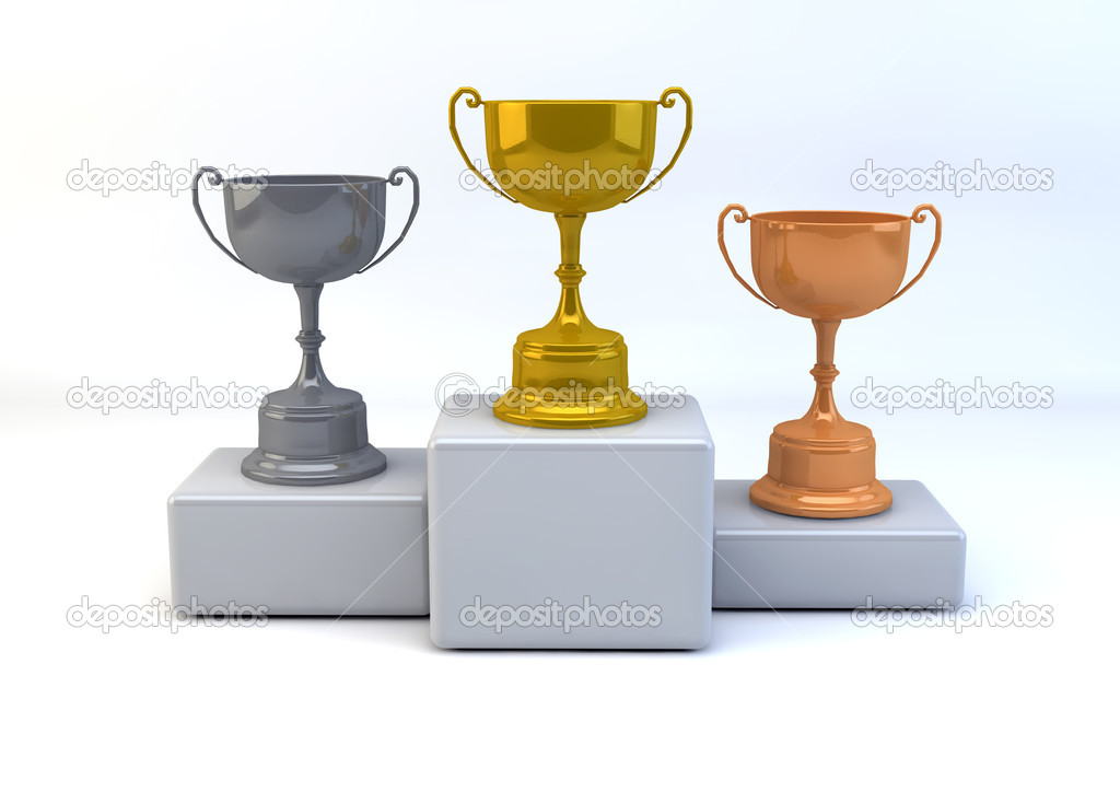 Winner concept with gold,silver and bronze trophies  on isolated white background — Stock Photo #11133889