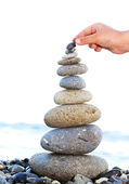 Pyramid of sea pebbles — Stock Photo
