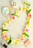 Plumeria lei with spa supplies — Stock Photo