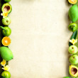 Stock Photo: Tropical fruits frame