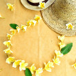 Couple of straw hat with plumeria lei — Stock Photo