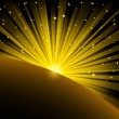 Royalty-Free Stock Vector Image: Light beams and stars over planet