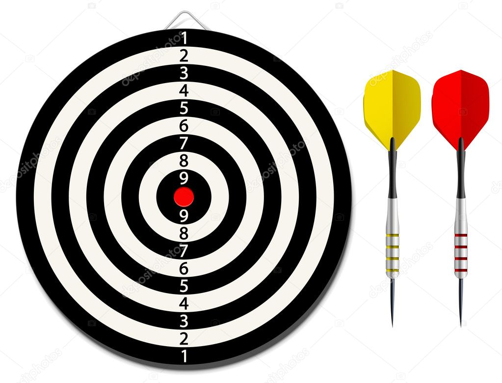 Vector dartboard with two darts on white background — Stock Vector #10910086