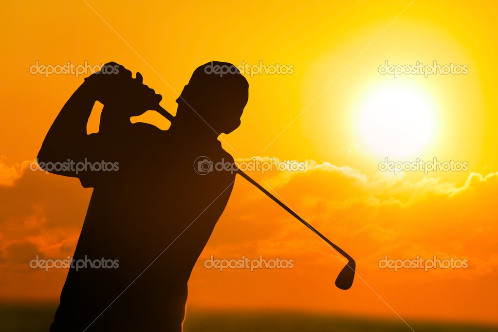 Photo of a Golfer in  Sunset  Stock Photo #10800227