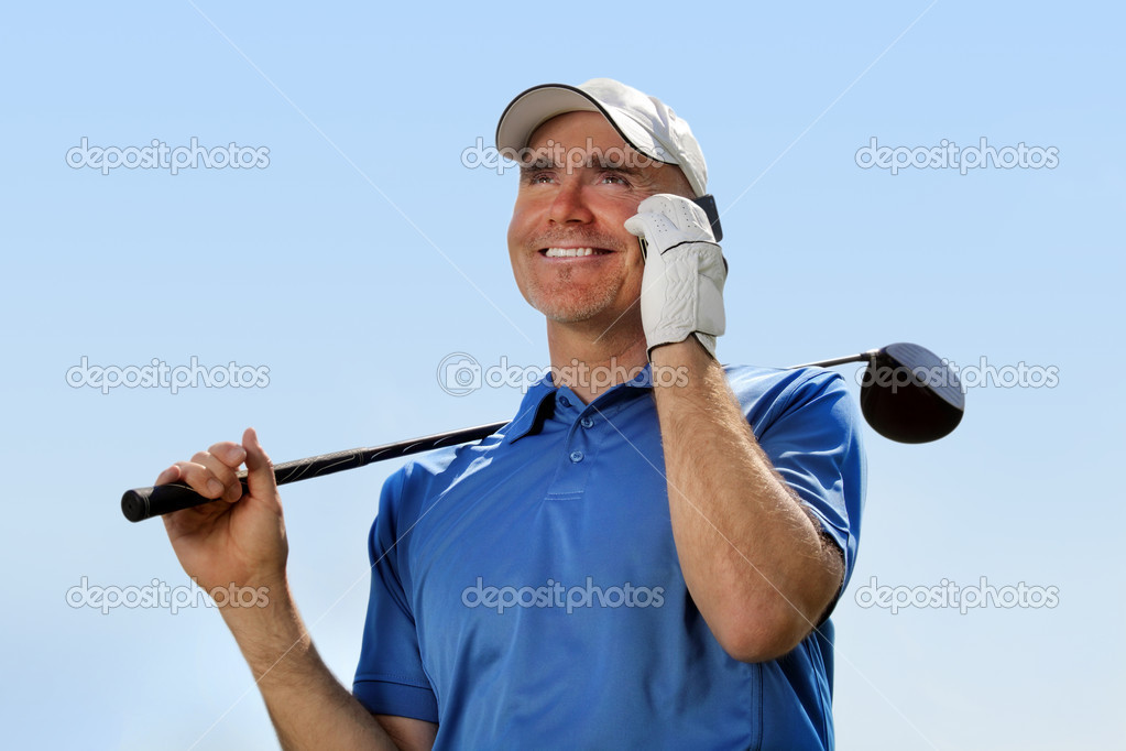 Golfer using mobile phone — Stock Photo #10852491
