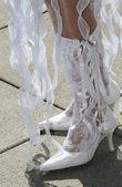 свадебная обувь - сапоги с кружевами — Стоковое фото