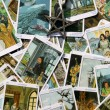Tarot card reading and accessories — Stock Photo