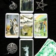Tarot card reading and accessories - Stock Photo