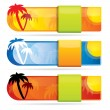 Tropical glossy vector banner set — Stock Vector