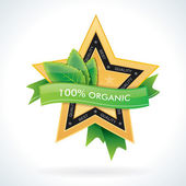 Organic gold star emblem with natural green leaves — Stock Vector