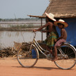 Riding Bicycle - Tonle Sap, Cambodia — Stock Photo