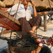 Crayfish Seller on Beach - Sihanoukville, Cambodia - Stock Photo