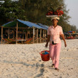 Selling Fruit on the Beach - Sihanoukville, Cambodia - Stock Photo