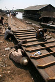 Boat Building - Tonle Sap, Cambodia — Stock Photo