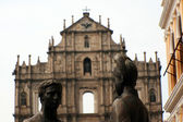 Satue in Front of Ruins of St Paul's Cathedral, Macau — Stockfoto
