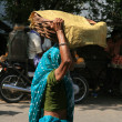 Basket on Head, Old Lady - Agra, India — Stock Photo