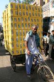 Ciężki ładunek na cyklu riksza - agra, indie — Zdjęcie stockowe