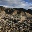 View Over Leh, Ladakh from the Castle on the hill top in India - Stock Photo