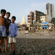 Street Children - Banganga Village, Mumbai, India - Stock Photo